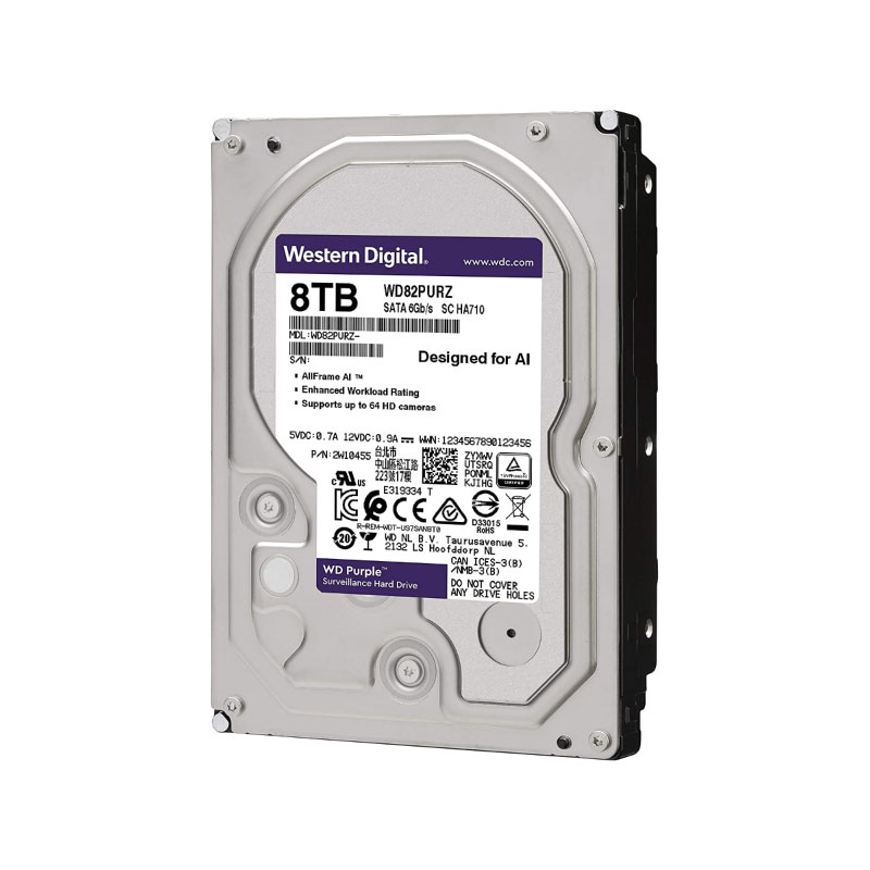 ฮาร์ดดิสก์ WD 8 TB AV WD82PURZ Purple Harddisk
