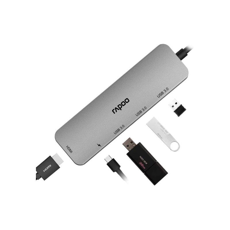 ตัวแปลง Rapoo XD100 5in1 USB Hub
