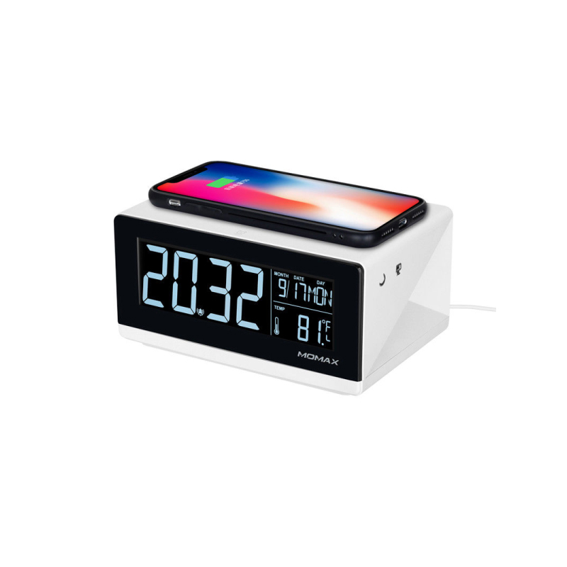 แท่นชาร์จไร้สาย Momax Q.Clock Digital Clock with Wireless Charger