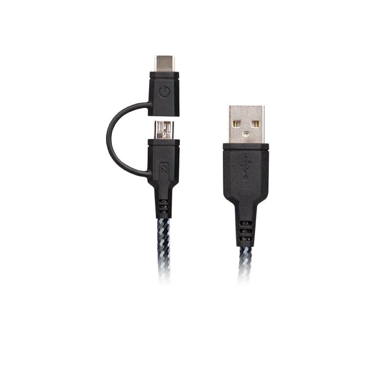 สายชาร์จ Energea Nylotough 2-In-1 USB-C+MICRO USB