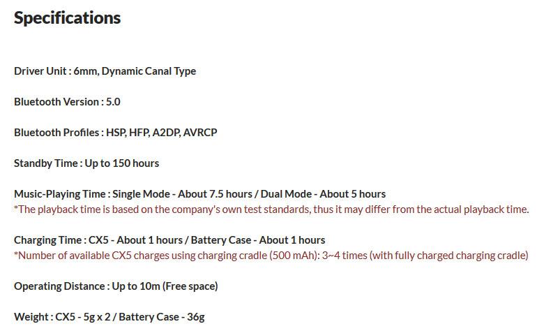 หูฟังไร้สาย Cowon CX5 True Wireless Tech Spec