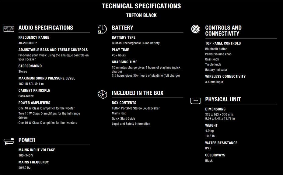 ลำโพง Marshall Tufton Bluetooth Speaker Tech Spec