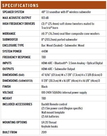 ลำโพง Klipsch BAR 48 Sound Bar Speaker Tech Spec