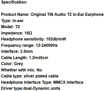 หูฟัง Tin Audio T2 PRO In-Ear Tech Spec