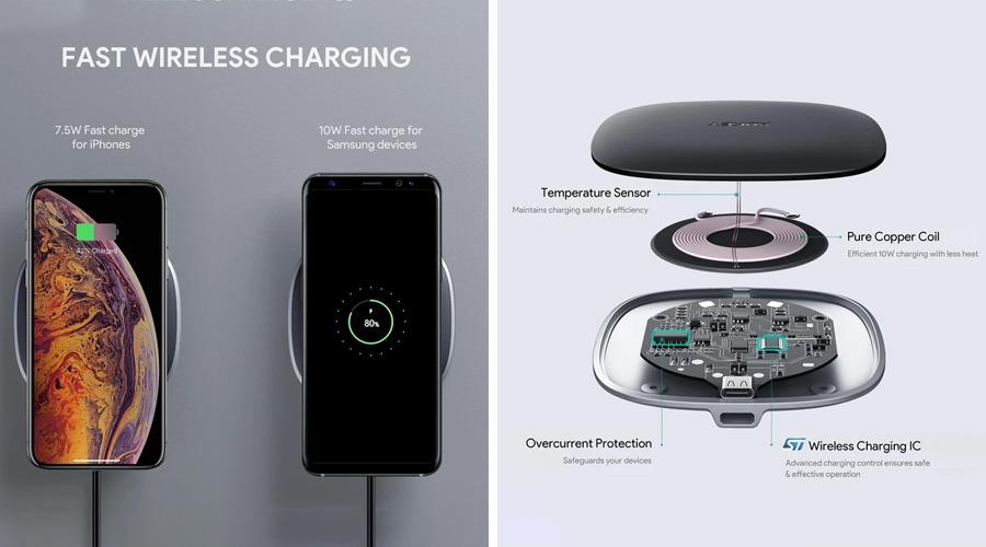 แท่นชาร์จไร้สาย Aukey LC-Q6 Graphite 10W Wireless Fast Charger ราคา