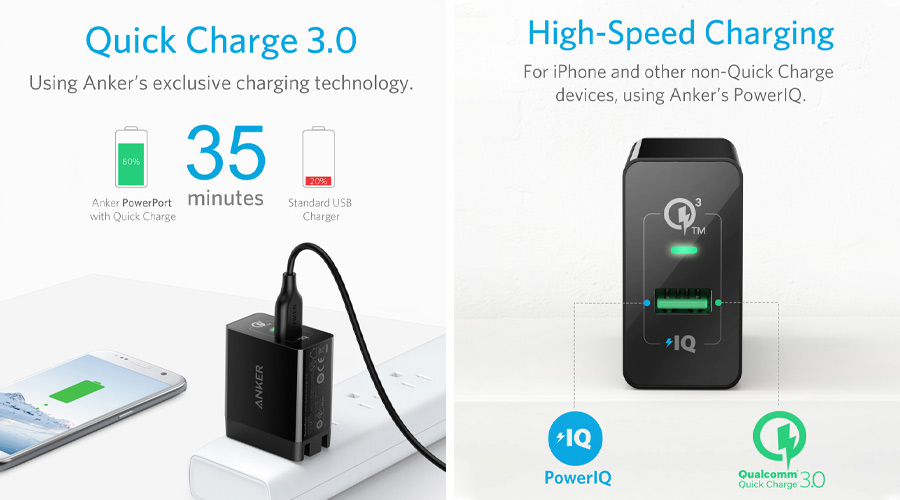หัวแปลง Anker PowerPort+ 1 with Quick Charge 3.0 Adapter ราคา