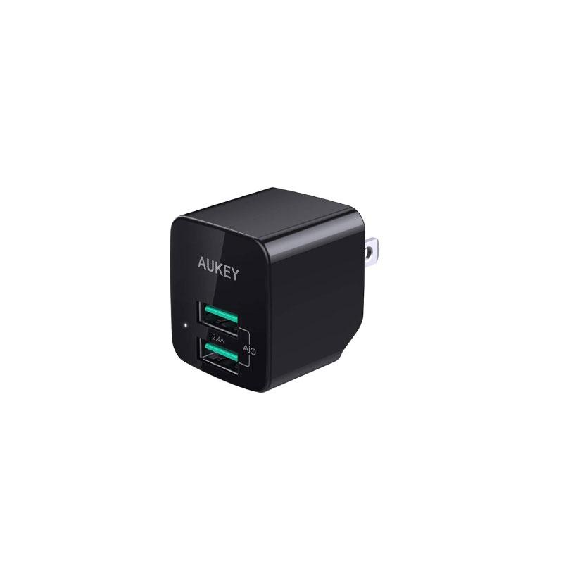 ตัวแปลง Aukey U32 Universal Dual Port AiPower Mini Portable Travel Charger Adapter