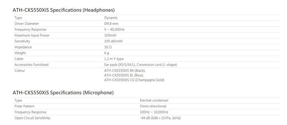 หูฟัง Audio-Technica ATH-CKS550XiS In-Ear สเปค