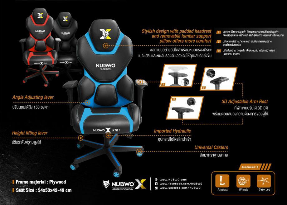 เก้าอี้เล่นเกม Nubwo NBCH-X101 ราคา