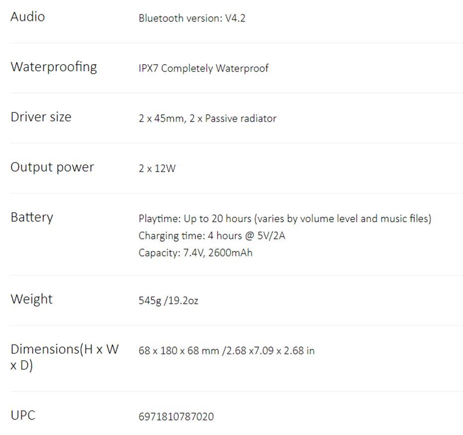 ลำโพงไร้สาย Tribit MaxBoom Speaker
