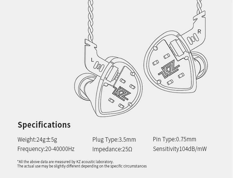 หูฟัง KZ ES4 In-Ear Tech Spec