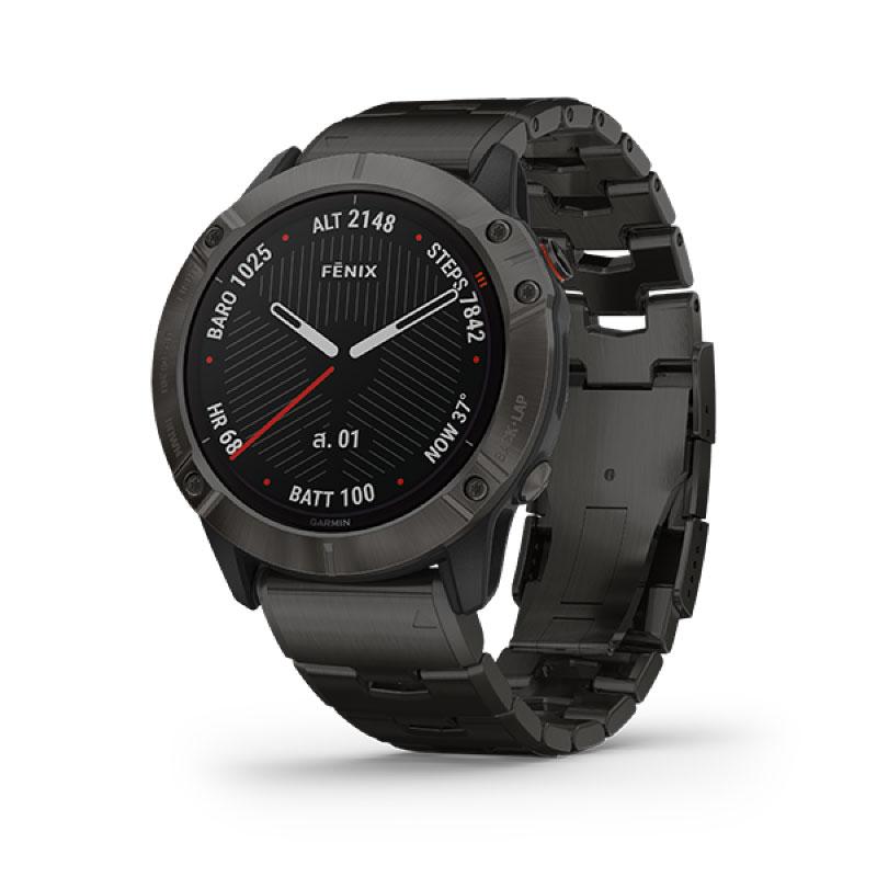 Garmin Fenix 6X Sport Watch Pro Solar Titanium Carbon Gray DLC Titanium Bracelet