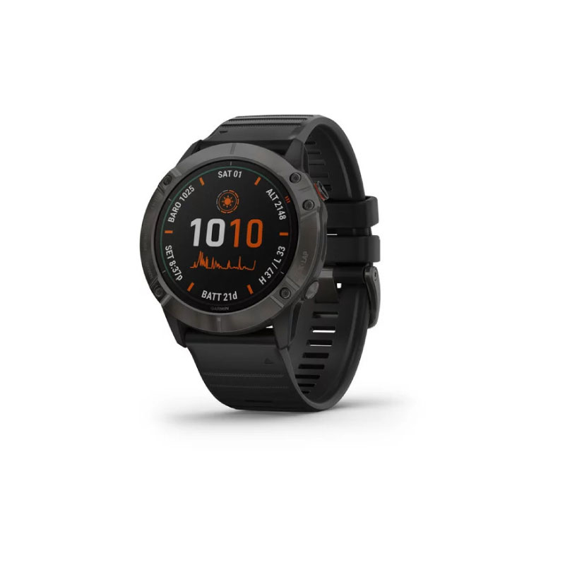 Garmin Fenix 6X Sport Watch Pro Solar Titanium Carbon Gray DLC Black Band