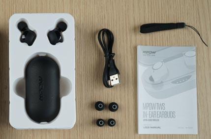 หูฟังไร้สาย Mpow T5 True Wireless ในกล่อง