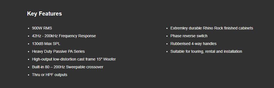 ลำโพง Wharfedale Pro DELTA 15BA Passive Speaker ซื้อ