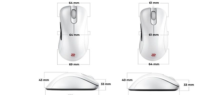 Zowie EC2-A Series White Special Edition Gaming Mouse ขนาด