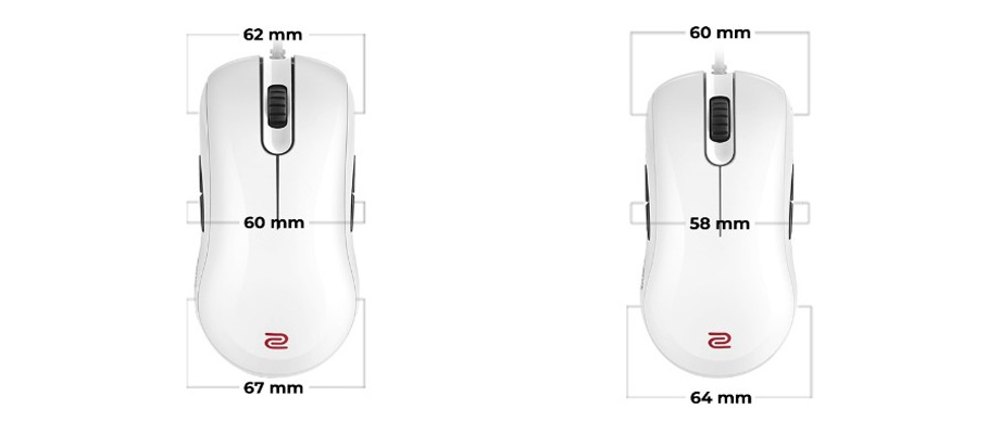 Zowie FK2 Series White Special Edition Gaming Mouse ขนาด
