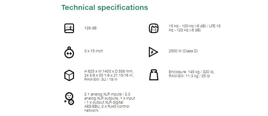ลำโพง Genelec 7382A Smart Active Subwoofer สเปค