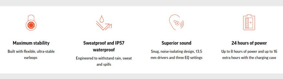 หูฟังไร้สาย Plantronics BackBeat FIT 3200 True Wireless สเปค