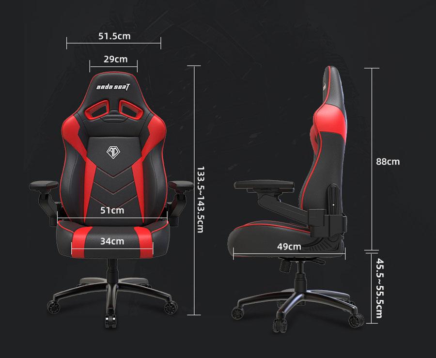 เก้าอี้เล่นเกม Anda Seat Zoran Gaming Chair ขนาด