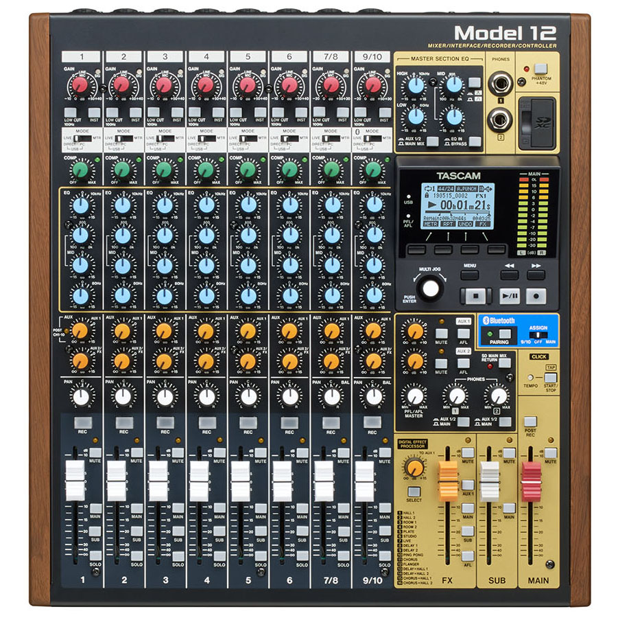 Tascam Model 12 Integrated Production Suite Mixer แผงควบคุม