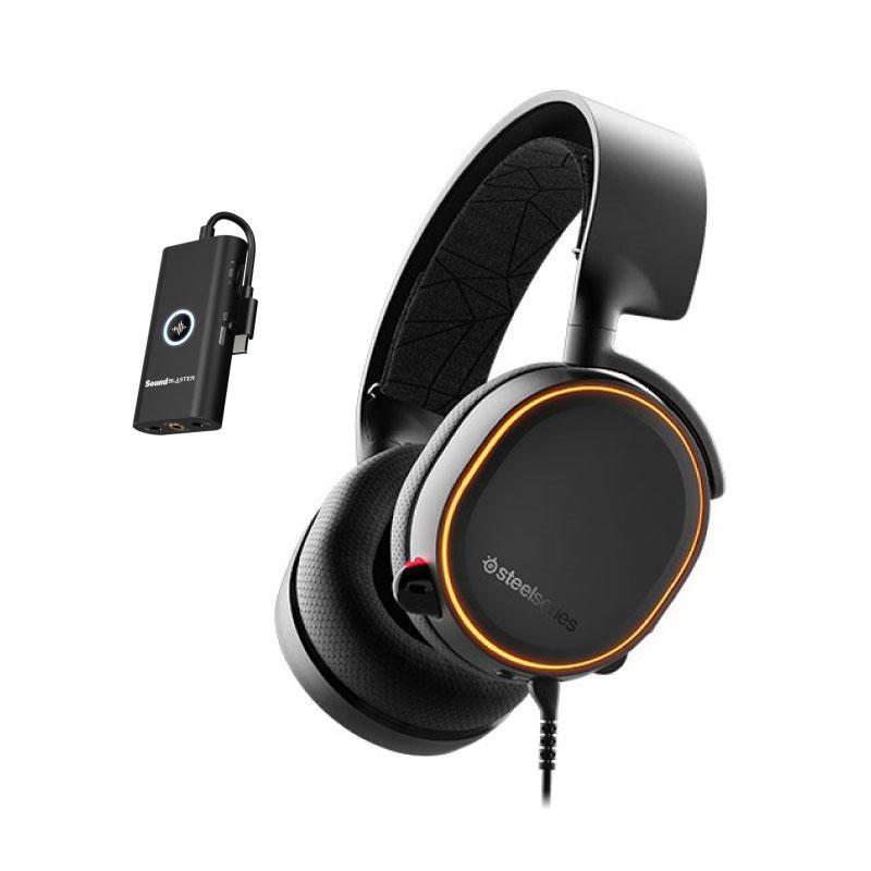 ชุดหูฟังเล่นเกม SteelSeries Arctis 5 RGB 7.1 + Creative G3 Black