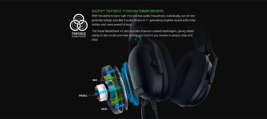 หูฟัง Razer BlackShark V2 Gaming Headphone เสียง