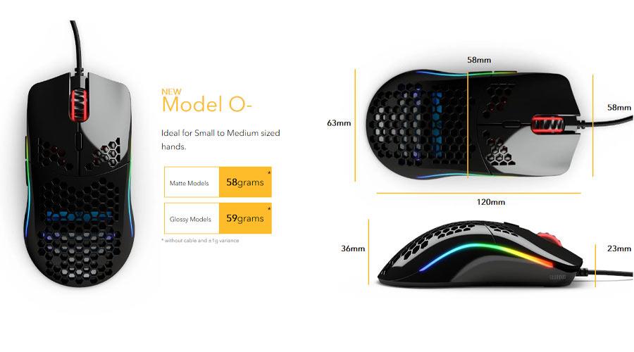 เมาส์ Glorious Model O- Minus Gaming Mouse ขนาด