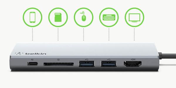 ตัวแปลง Belkin 3.1 USB-C 8-in-1 Multimedia Hub with Power Pass ราคา
