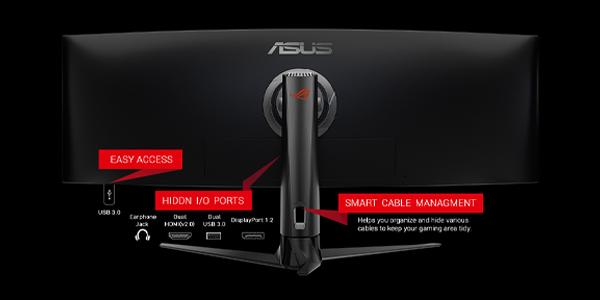 """จอคอม Asus ROG 49"""" VA Curved @ 144Hz XG49VQ Monitor พอร์ต"""