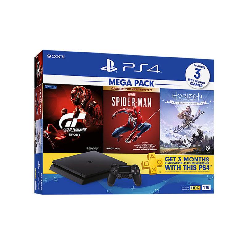 เครื่องเล่นเกม Playstation 4 Slim 1 TB Bundle Marvel's Spider-Man + Horizon Zero Dawn + Grand Turismo Console