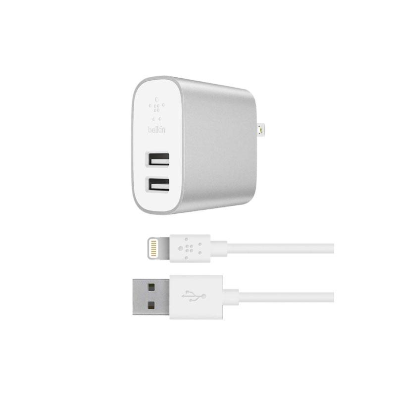 หัวชาร์จพร้อมสาย Belkin BOOSTCHARGE 2-Port Home Charger 2.4A per Port + Lightning to USB-A Cable 1.2M