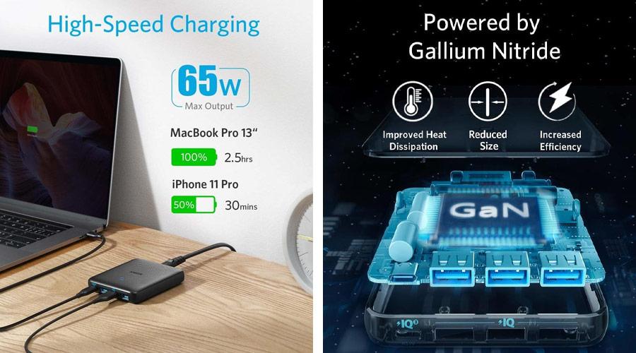 หัวชาร์จ Anker PowerPort Atom III Slim 4 Ports 65W Adapter ราคา