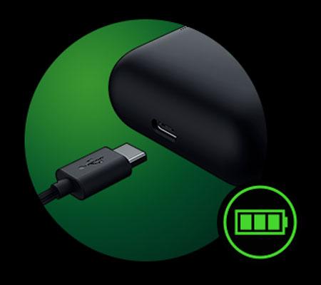 หูฟังไร้สาย Razer Hammerhead True Wireless Pro แบตเตอรี่
