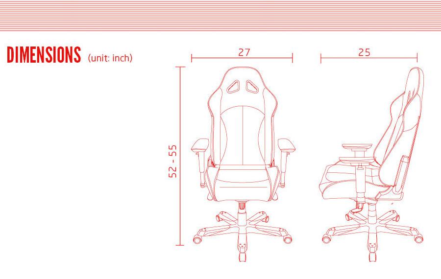 เก้าอี้เล่นเกม DXRacer Tank Series Gaming Chair ขนาด