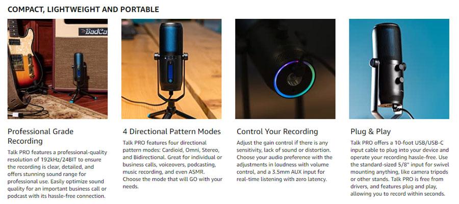 ไมโครโฟน JLab Talk Pro Microphone สเปค
