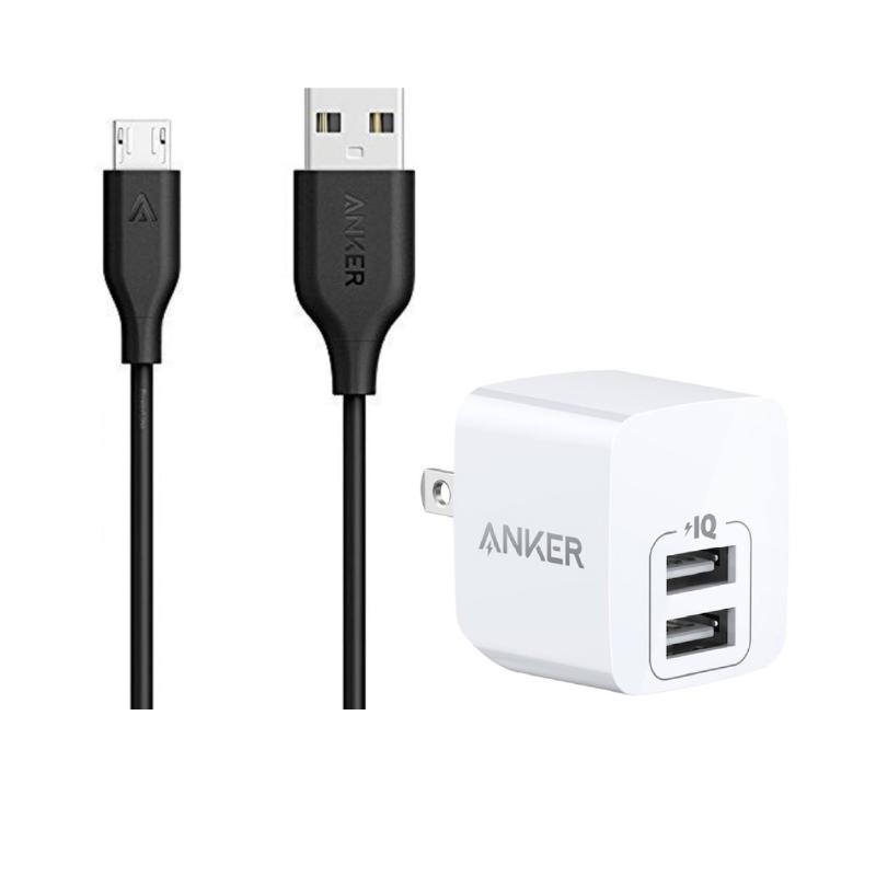 ชุดพร้อมชาร์จ Anker Powerline Micro USB + PowerPort Mini Bundle