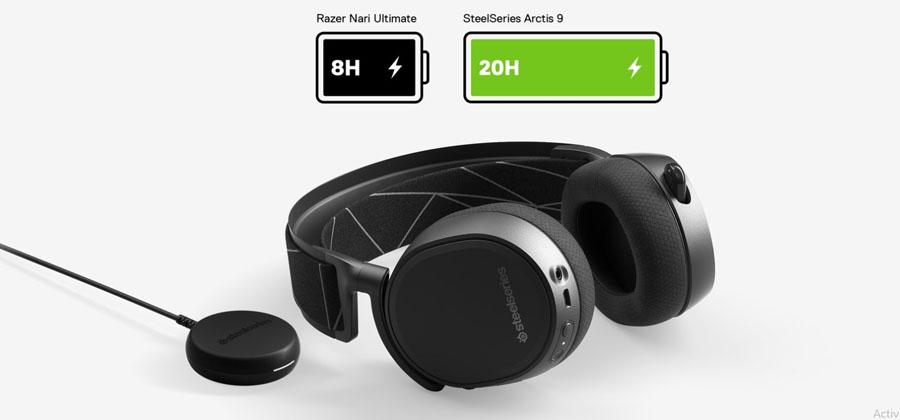 หูฟัง SteelSeries Arctis 9 Wireless Headphone แบตเตอรี่