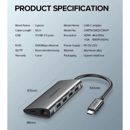 Ugreen USB Type C to HDMI Card Reader RJ45 PD Charging Adapter สเปก