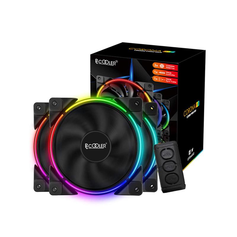 พัดลมระบายความร้อน PC Cooler CORONA FRGB 120MM PWM 3 IN 1 KIT Cooling Fan