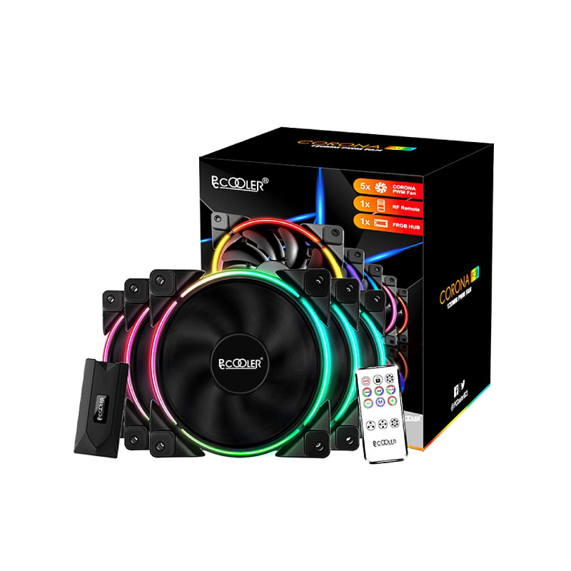 พัดลมระบายความร้อน PC Cooler CORONA FRGB 120MM PWM 5 IN 1 KIT Cooling Fan