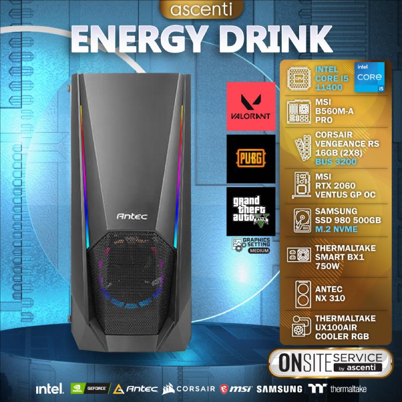 คอมเล่นเกม Ascenti ENERGY DRINK Intel Core i5-11400 RTX 2060 VENTUS GP OC RAM 16GB Computer by Ascenti