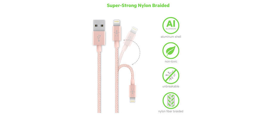 Belkin Lightning Sync + Charge Braided สายชาร์จ