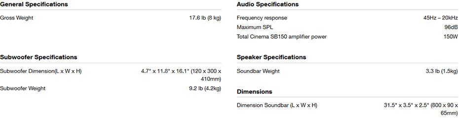 ลำโพง JBL Cinema SB150 Sound Bar Tech Spec