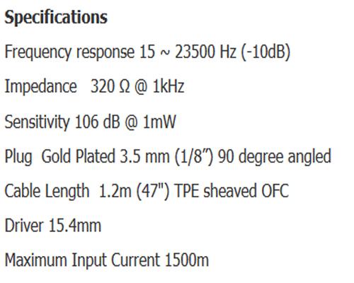 VE ZEN 2.0 Earbud Black Edition Tech Spec