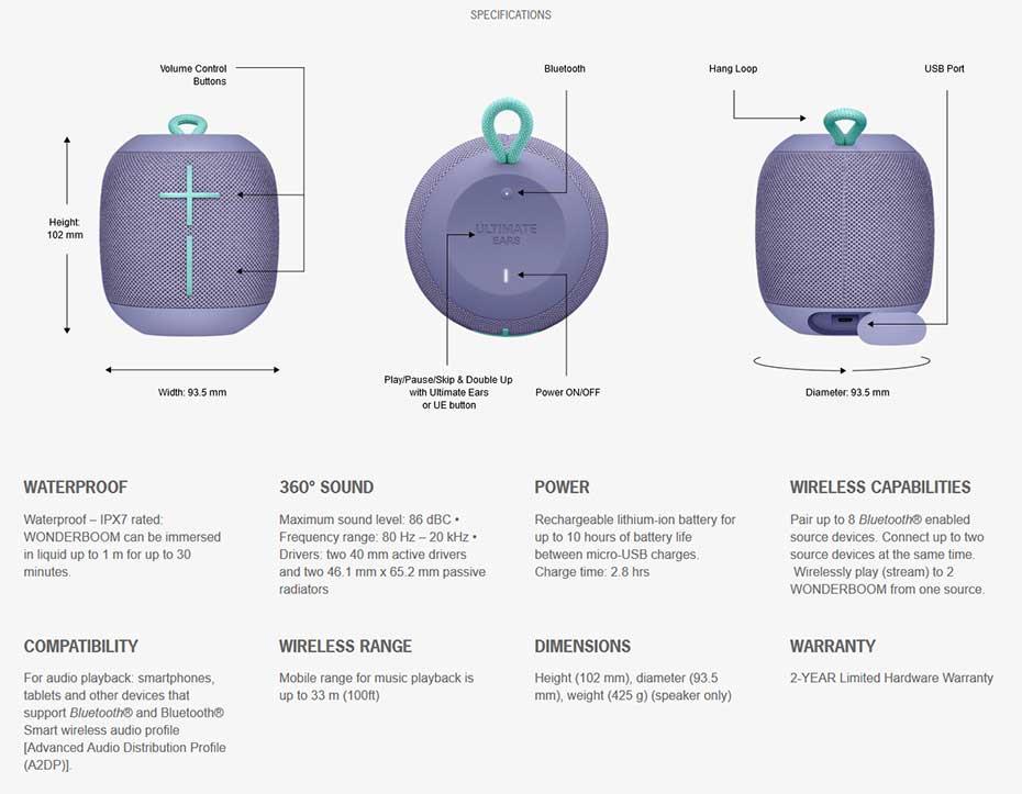 ลำโพงไร้สาย Ultimate Ears Wonder Boom Speaker Tech Spec