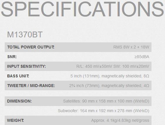 ลำโพงไร้สาย Edifier M1370BT Speaker Tech Spec