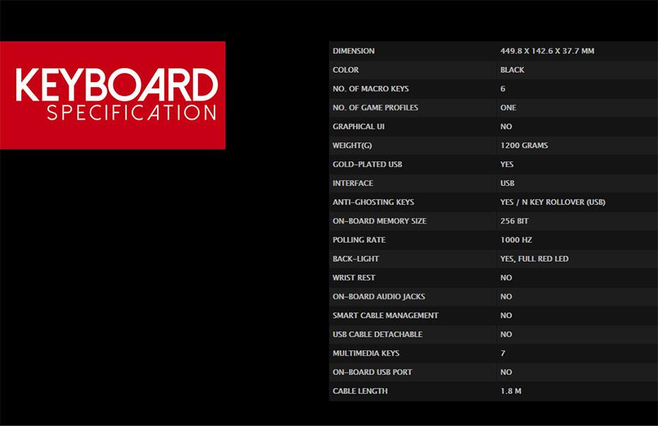 คีย์บอร์ด Tt eSports Meka Pro Gaming Keyboard Tech Spec