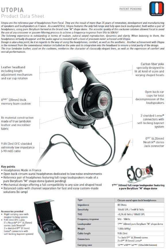หูฟัง Focal Utopia Headphone Tech Spec