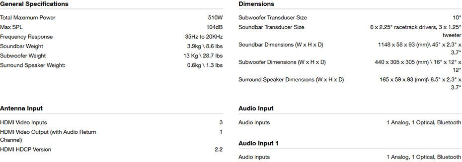 ลำโพง JBL Bar 5.1 Sound Bar Speaker Tech Spec